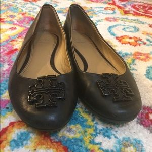 Tory Burch black melinda powder coated flats